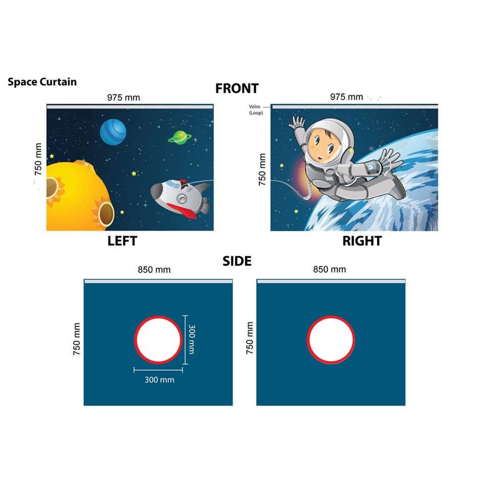 Vipack speelgordijn Space - blauw - 196,5x86,5x74,5 cm - Leen Bakker